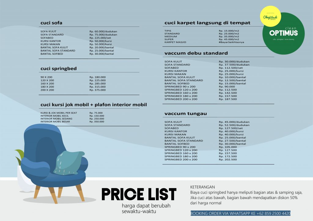 Price List Optimus Clean Bogor 2019
